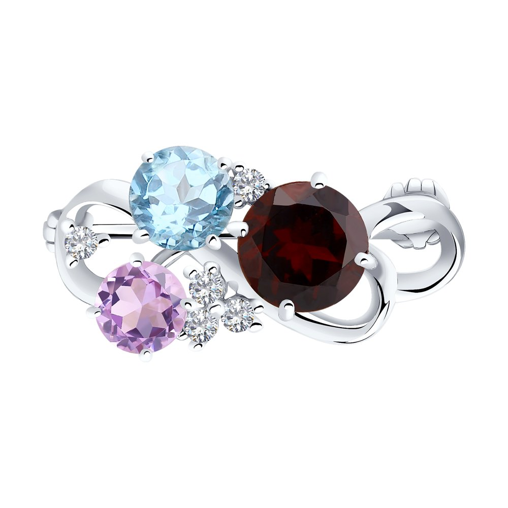 картинка серебряная брошь с яркими камнями 92040024