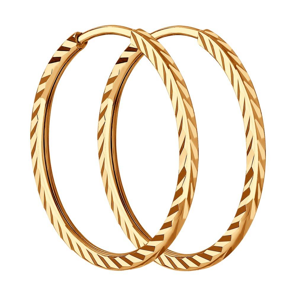 картинка серьги конго из золота с алмазной гранью 140066