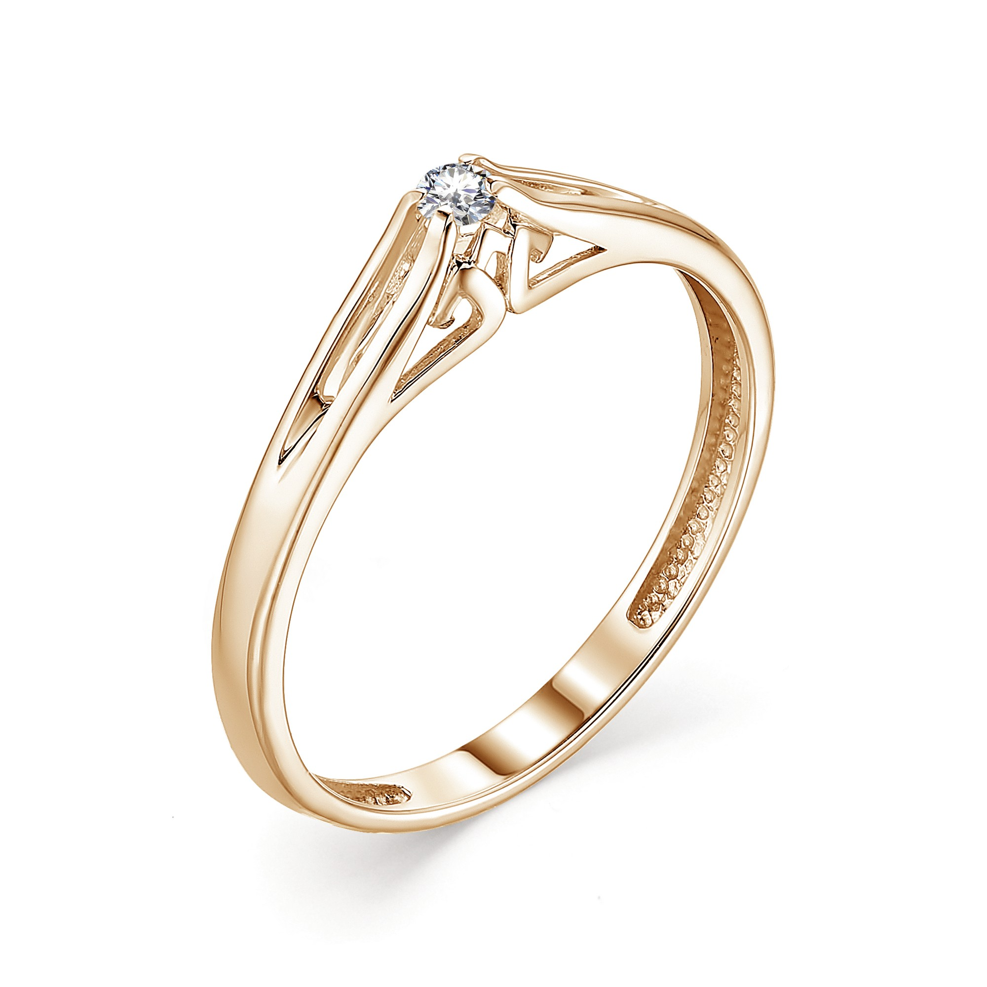 картинка кольцо 13343-100 1 бриллиант круг 57 0,046 20-25 3/6а 13343-100