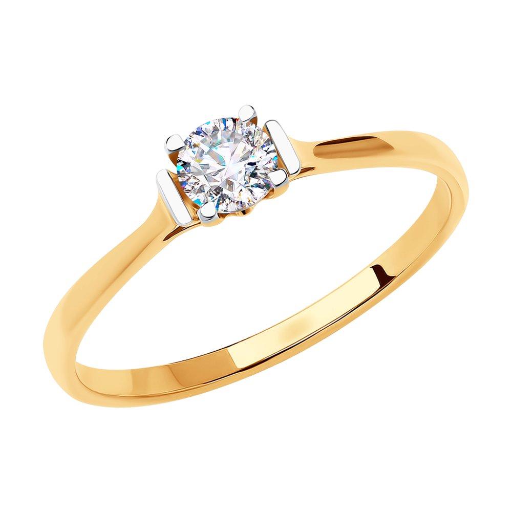 картинка кольцо из золота с фианитом 018615