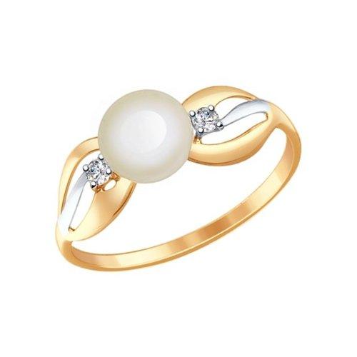 картинка кольцо из золота с жемчугом и фианитами 791030