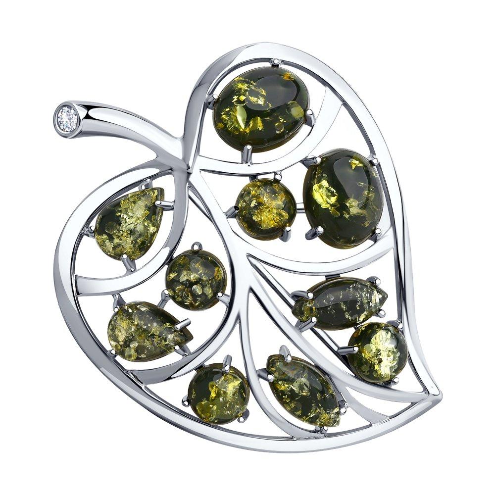 картинка брошь из серебра с янтарём и фианитом 94-340-00469-1