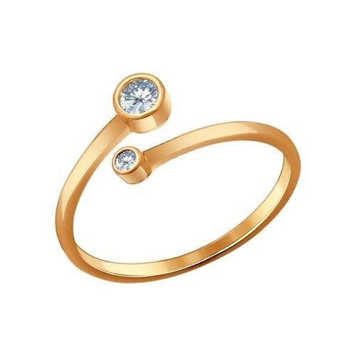 картинка кольцо из золочёного серебра с фианитами 93010520