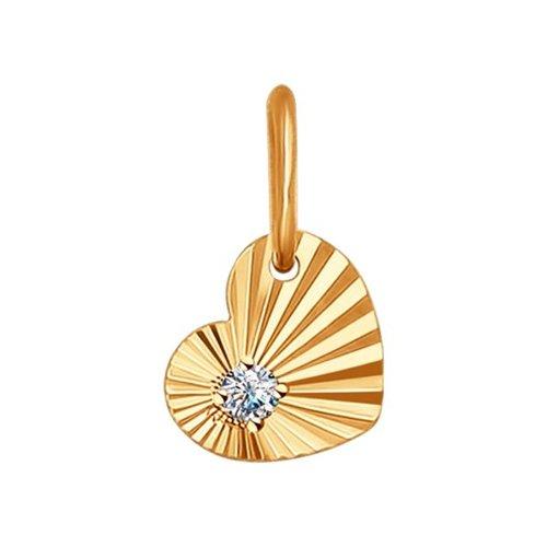 картинка подвеска из золота с алмазной гранью с фианитом 031475