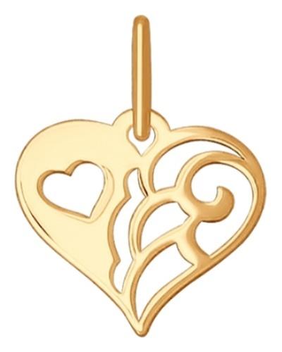 картинка подвеска из золота 585° с фианитом 035142