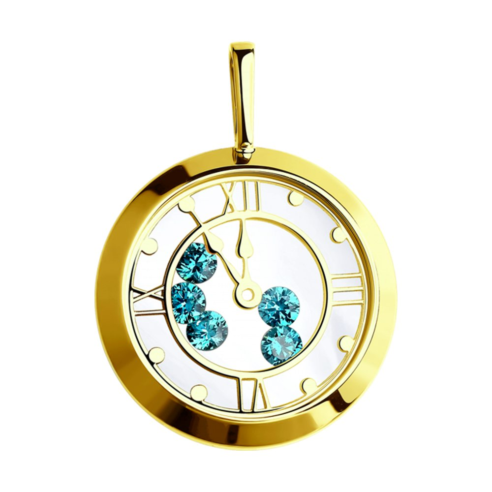 картинка подвеска из желтого золота с минеральным стеклом и голубыми фианитами 035078-2