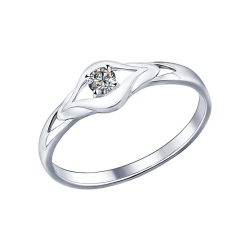 картинка кольцо из серебра с фианитом 94011586
