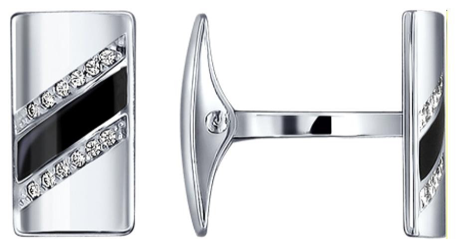 картинка запонки из серебра 925° с эмалью 94160020