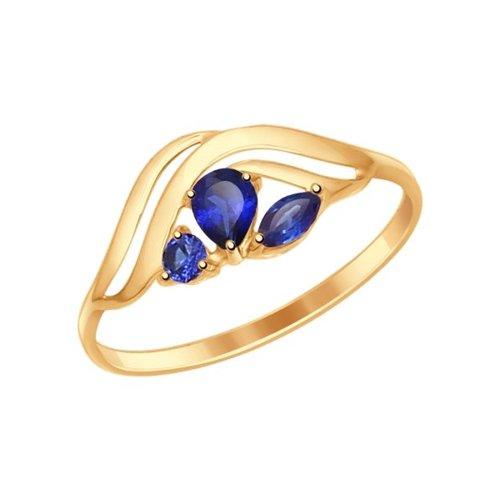 картинка кольцо из золота с корундами сапфировыми (синт.) 714616