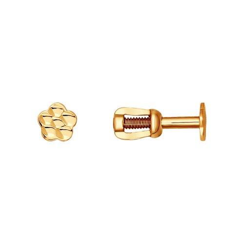 картинка серьги-пусеты из золота с алмазной гранью 022863