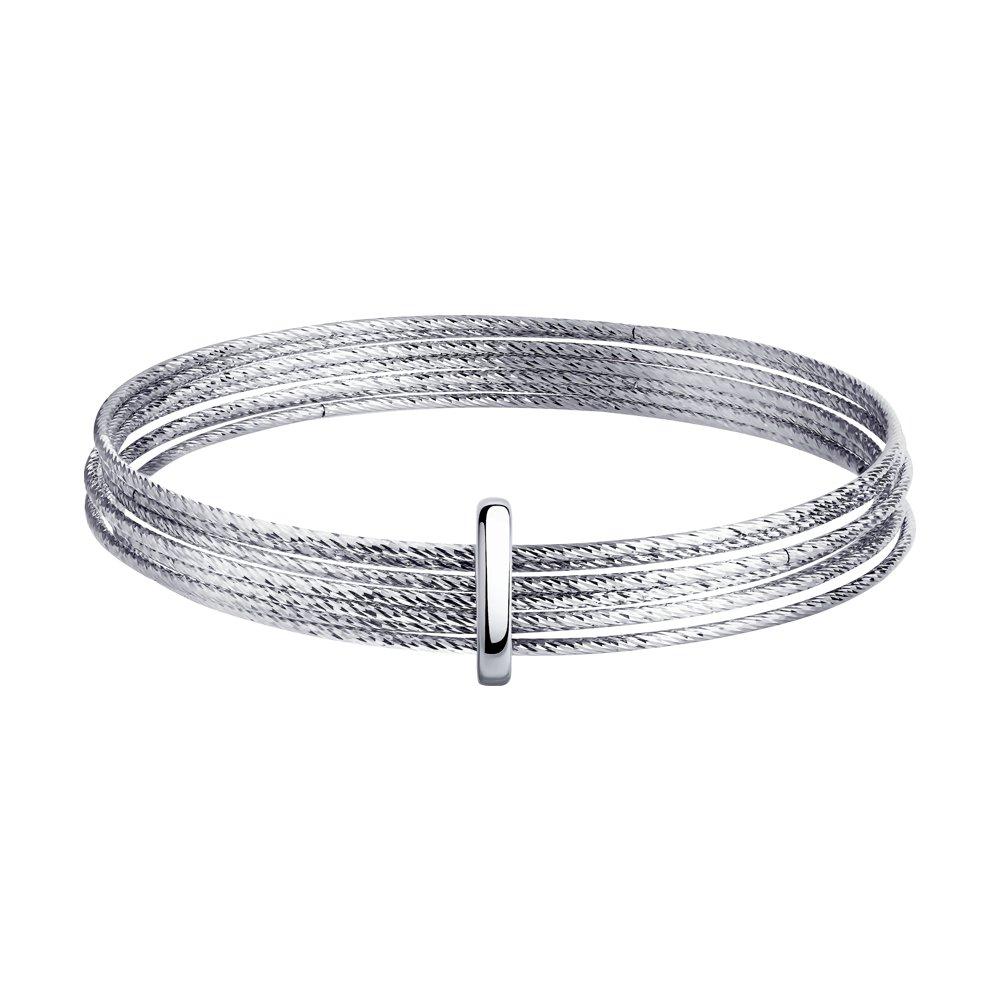 картинка браслет жёсткий из серебра с алмазной гранью 94050128