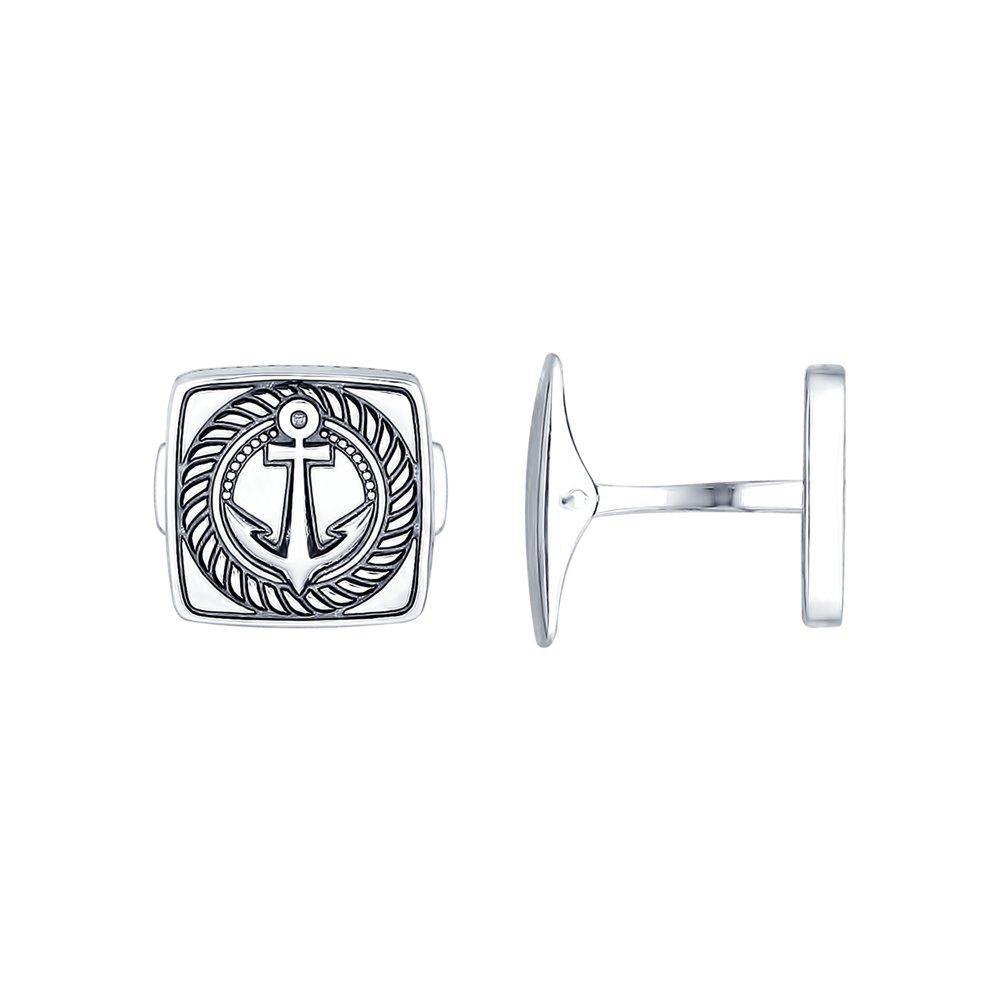 картинка запонки «якорь» из серебра 95160004