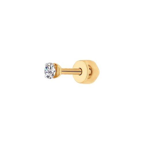 картинка серьги одиночные из золота с фианитом 170022