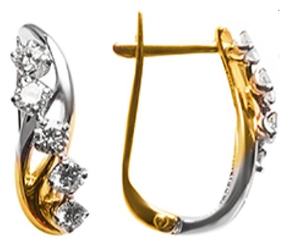 картинка серьги из золота 585° с бриллиантом 920169-01