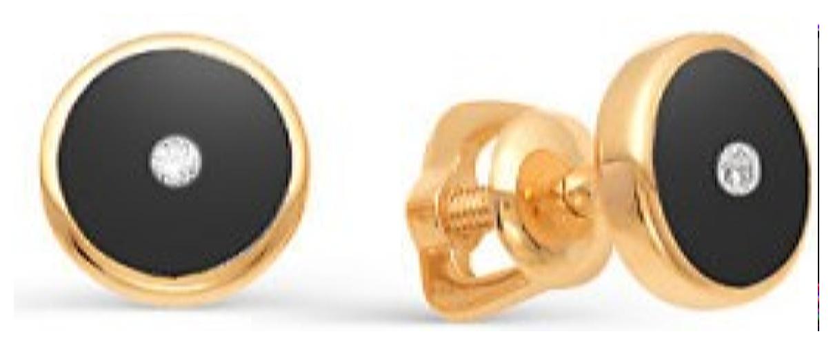 картинка серьги из золота 585° с бриллиантом 21898-100