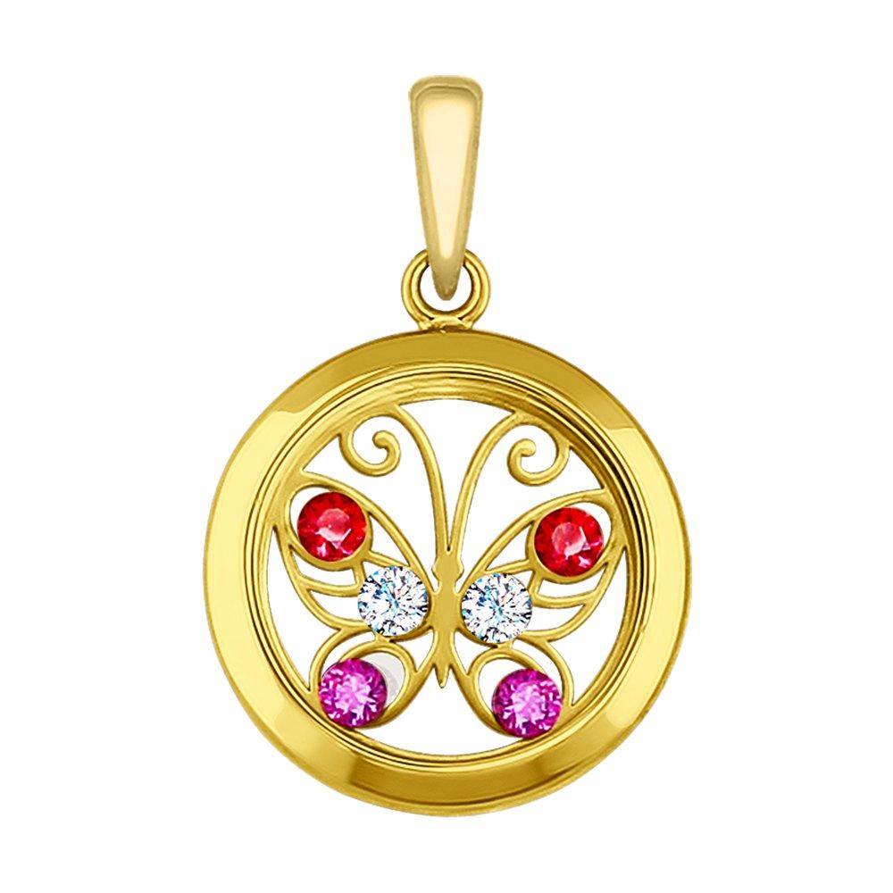 картинка подвеска из желтого золота с минеральным стеклом и бесцветными, красными и сиреневыми фианитами 035061-2