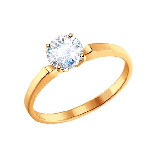 картинка узкое помолвочное кольцо из золота с фианитом 010184