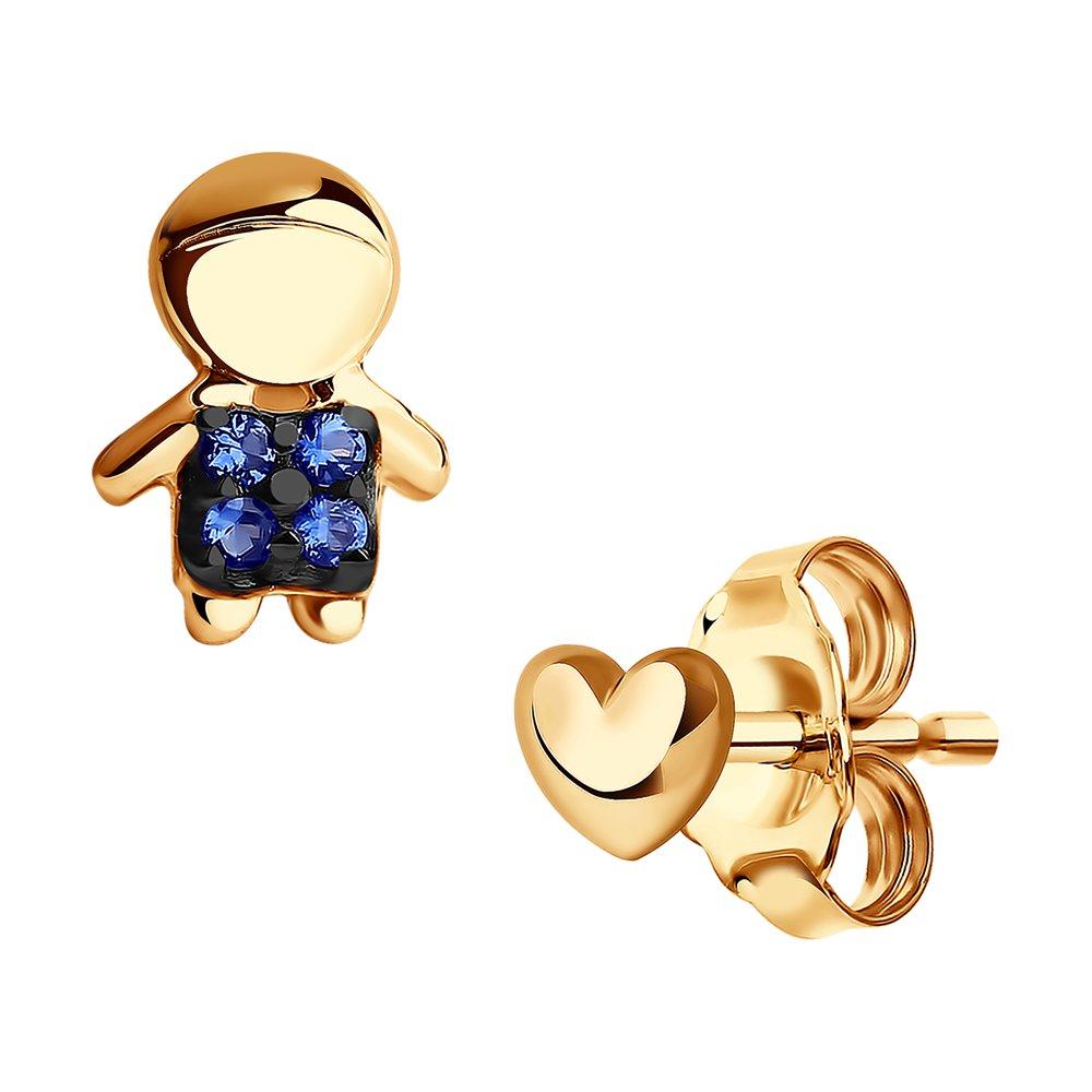 картинка асимметричные серьги-гвоздики из золота 027239