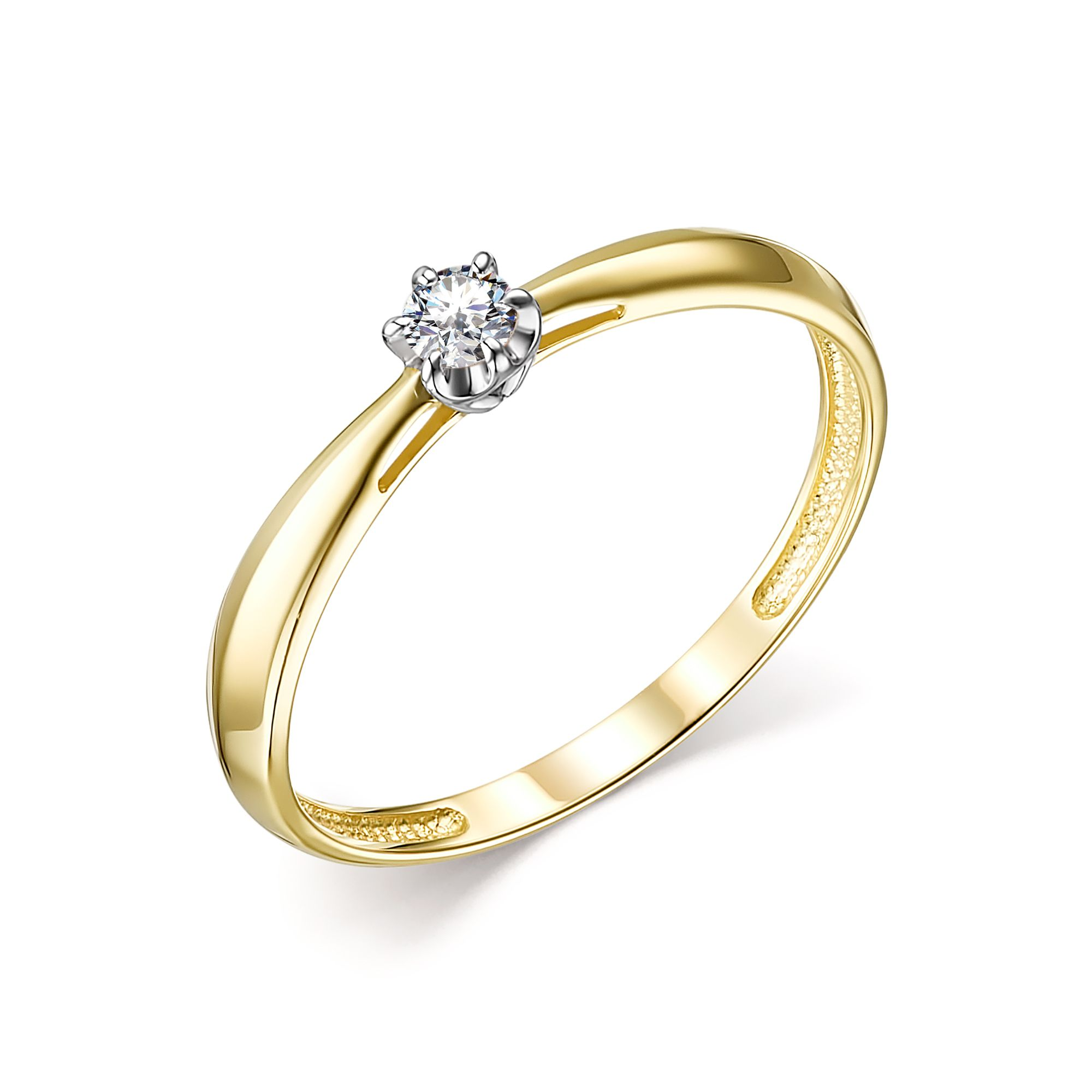 картинка кольцо 13823-300 1 бриллиант круг 57 0,091 10-15 4/6а 13823-300