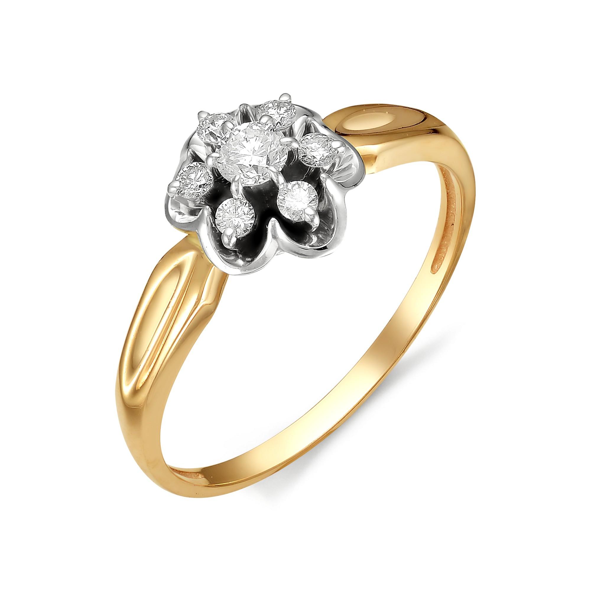 картинка кольцо 11854-100 1 бриллиант круг 57 0,117 7-10 4/6а, 6 бриллиант круг 57 0,110 40-60 4/5а 11854-100