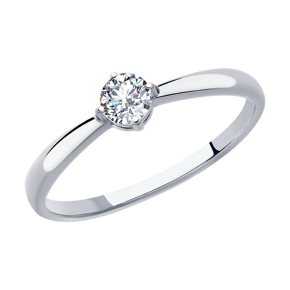 картинка кольцо из серебра с фианитом 94012840