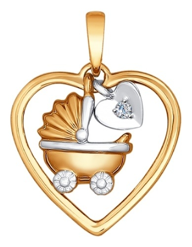 картинка подвеска из золота 585° с бриллиантом 1030517