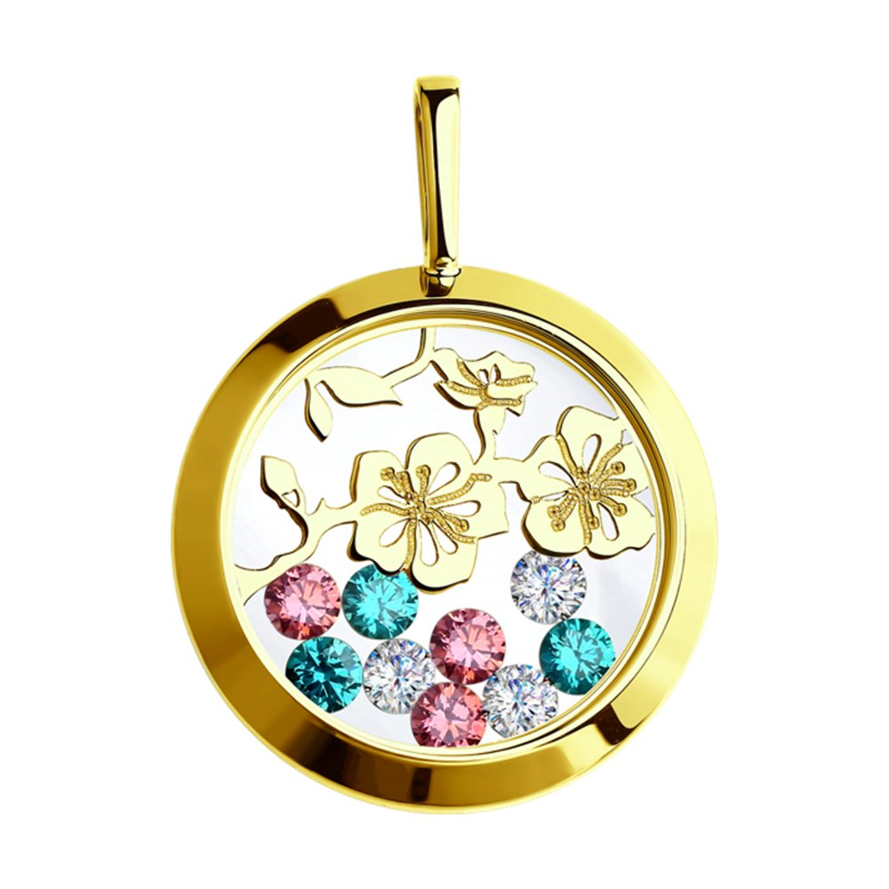 картинка подвеска из желтого золота с минеральным стеклом и бесцветными, зелеными и розовыми фианитами 035077-2