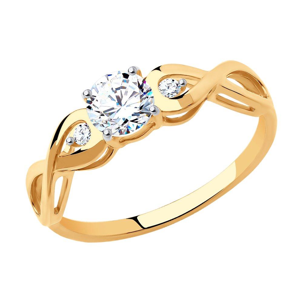 картинка помолвочное кольцо из золота с фианитами 017154