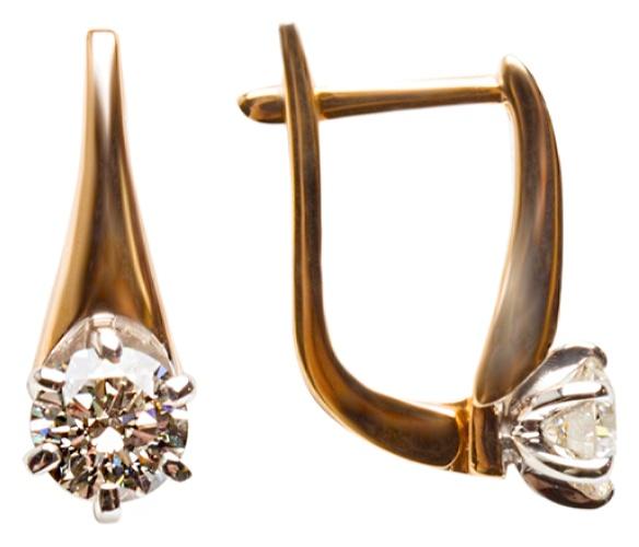 картинка серьги из золота 585° с бриллиантом 920500-01