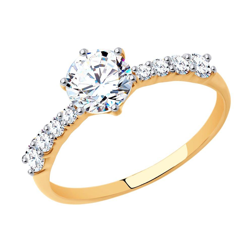 картинка помолвочное кольцо из золота со swarovski zirconia 81010240