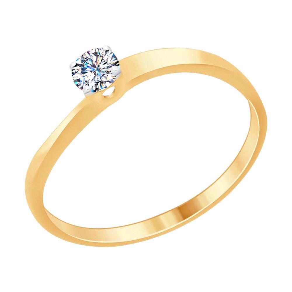 картинка кольцо из золочёного серебра со swarovski zirconia 89010092