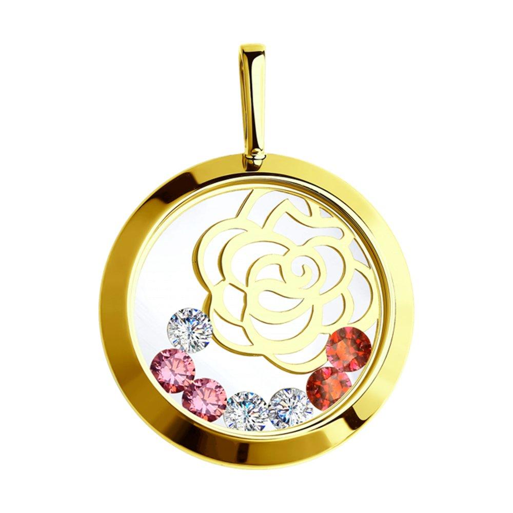 картинка подвеска из желтого золота с минеральным стеклом и бесцветными, красными и розовыми фианитами 035076-2