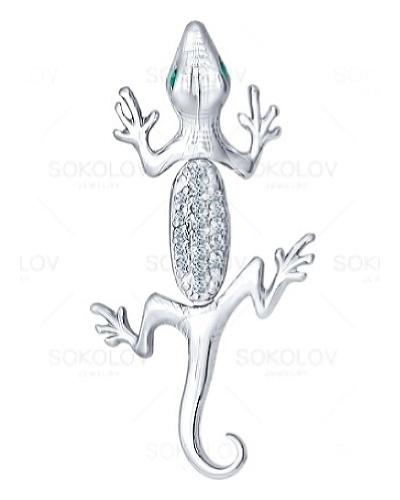 картинка подвеска из серебра 925° с фианитом 94030201