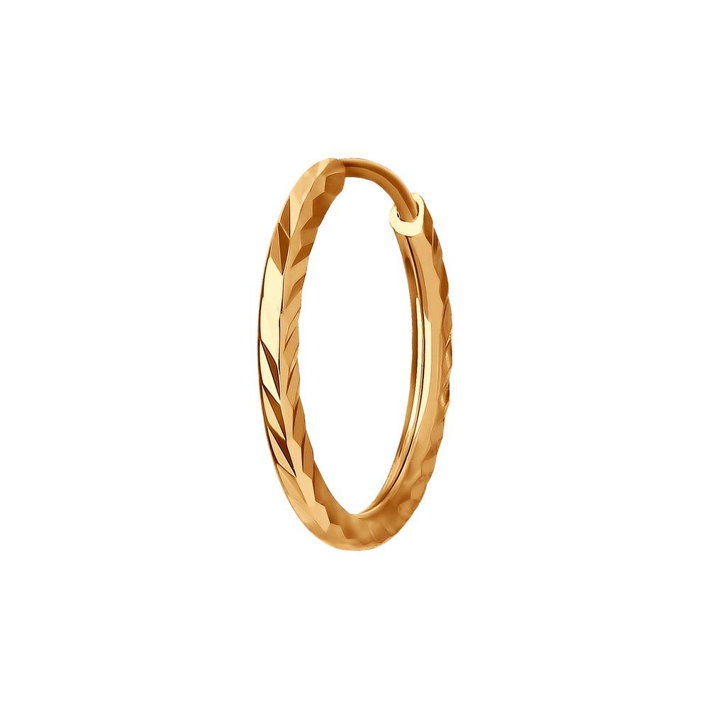 картинка серьги одиночные из золота с алмазной гранью 170002