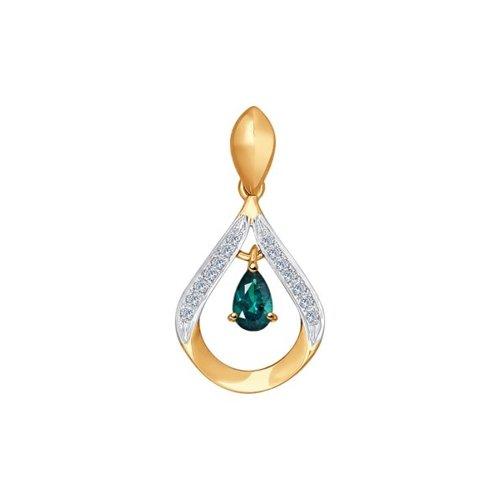 картинка подвеска из золота с бриллиантами и изумрудом 3030117