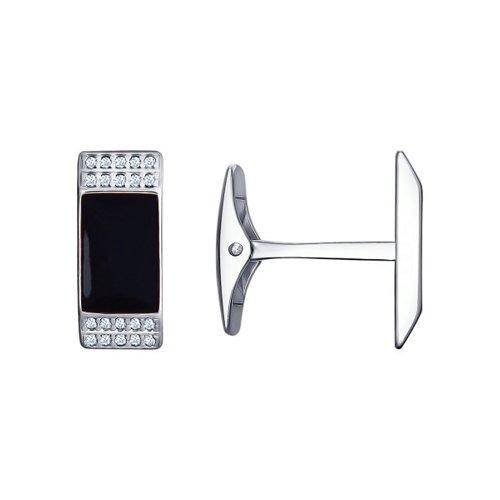 картинка запонки из серебра с эмалью с фианитами 94160039