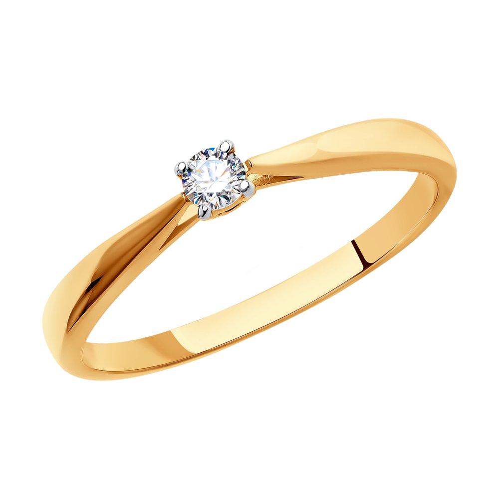картинка помолвочное кольцо из золота со swarovski zirconia 81010241