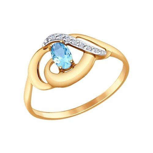картинка кольцо из золота с голубым топазом и фианитами 714650