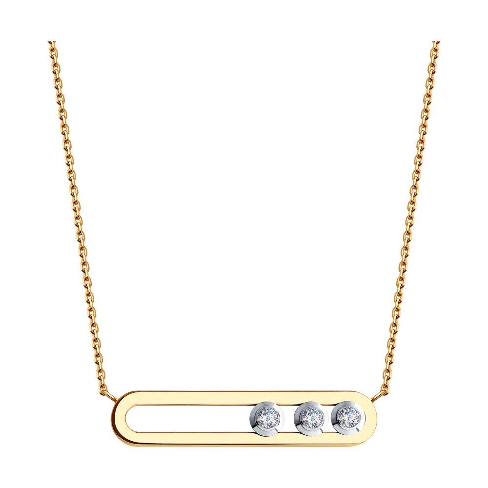 картинка колье из золота с фианитами swarovski 81070033