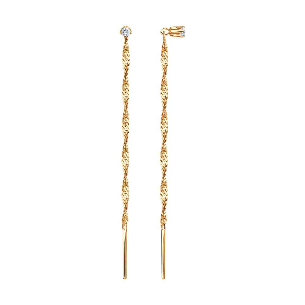 картинка золотые серьги-продёвки с фианитом 020612