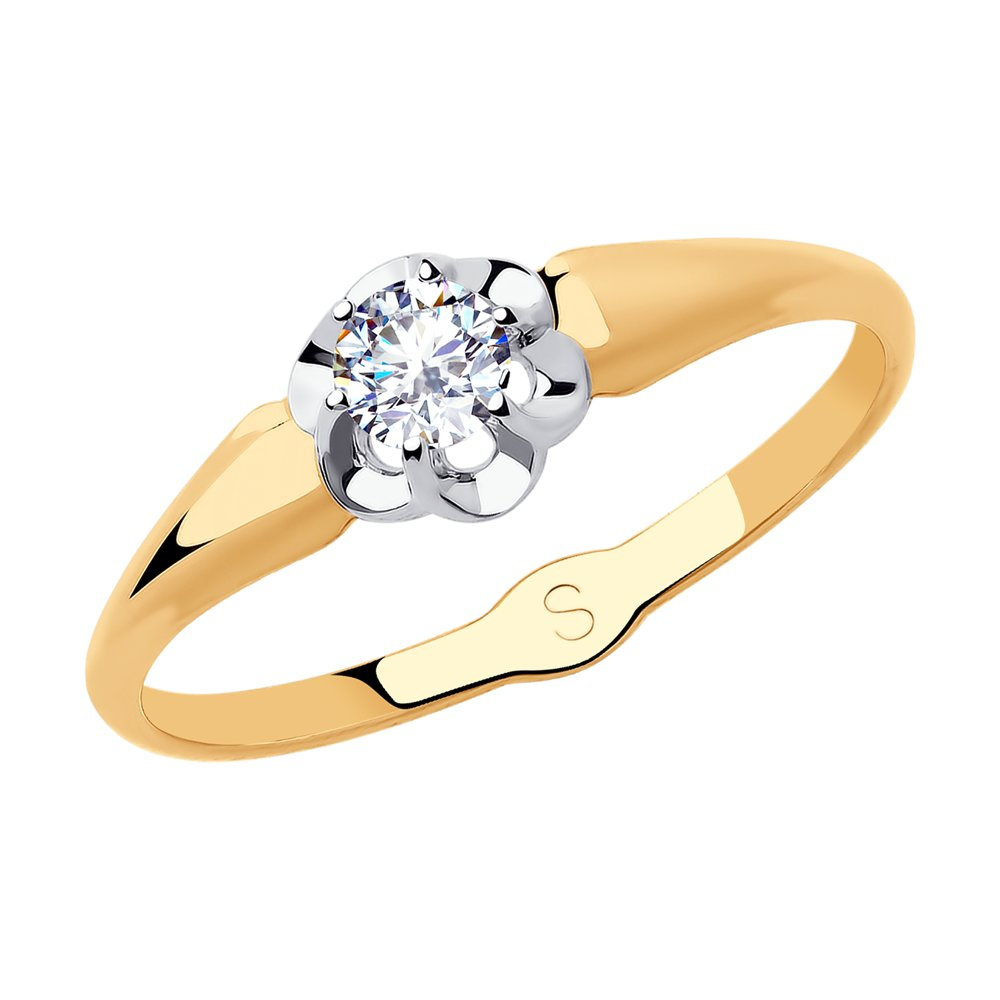 картинка кольцо из золота с фианитом 018184