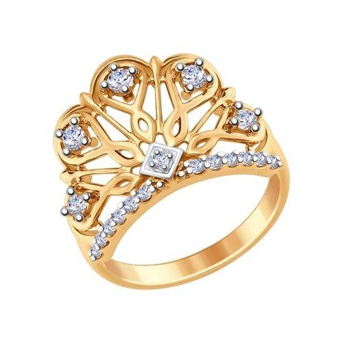 картинка кольцо из золочёного серебра с фианитами 93010631