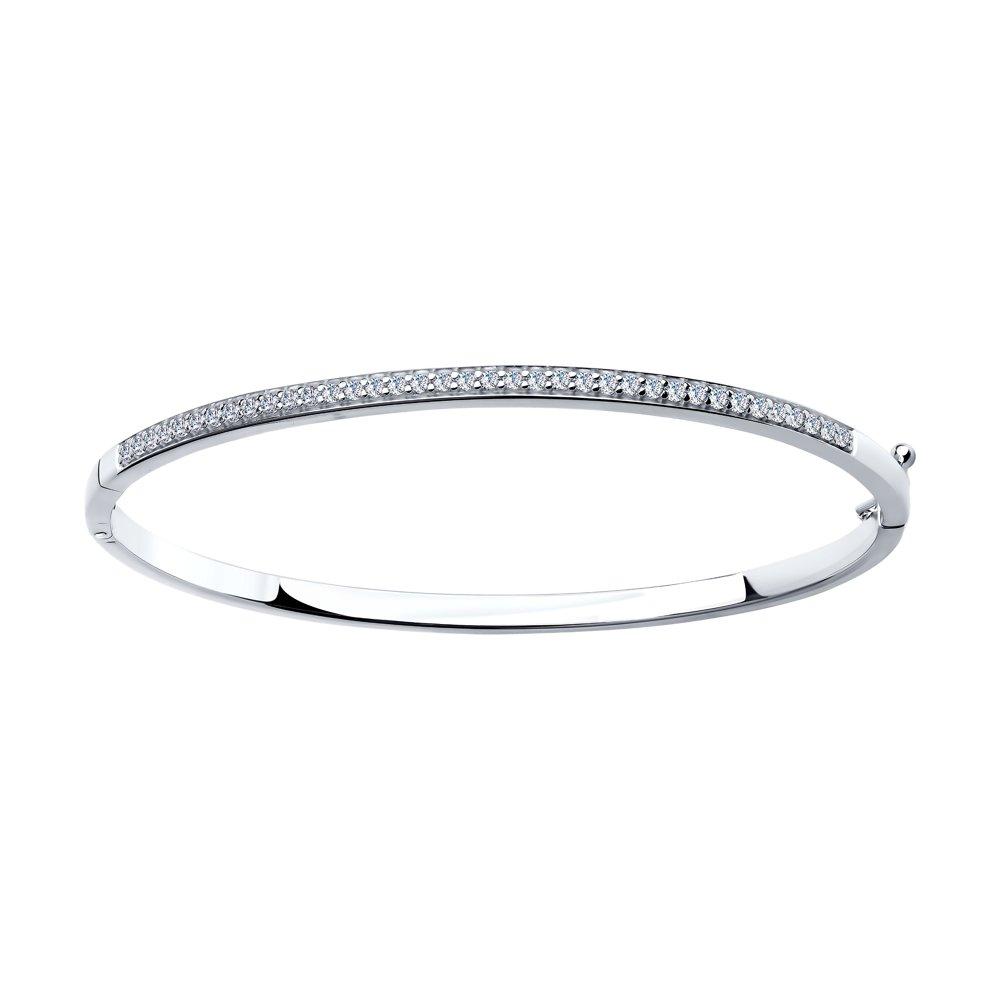 картинка белый браслет из серебра с фианитами 94050223