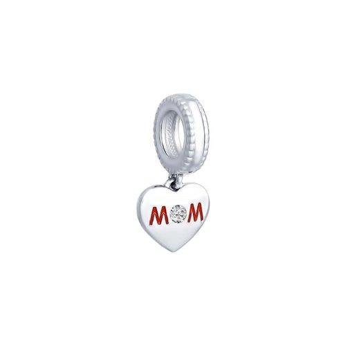 картинка подвеска-шарм из серебра «сердце матери» 94031672