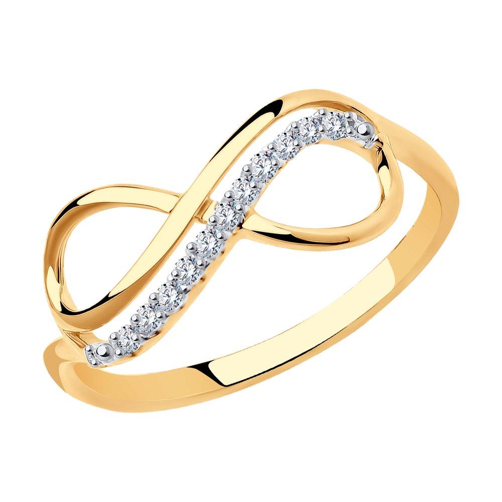 картинка кольцо бесконечность из золота с фианитами 016622