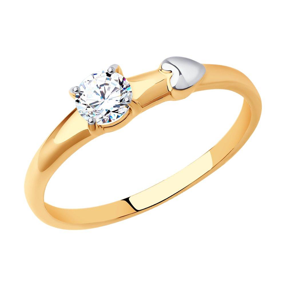 картинка кольцо из золота с фианитом 017581