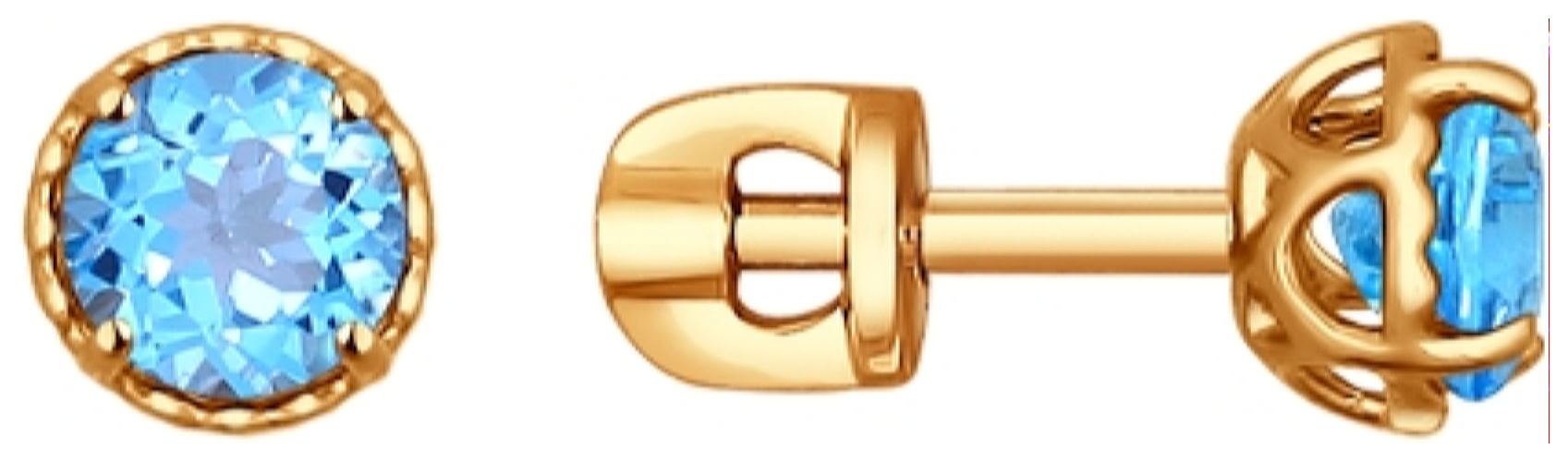 картинка серьги из золота 585° с топазом 724195