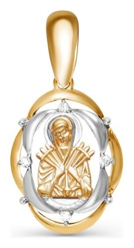 картинка икона из золота 585° с фианитом 031945
