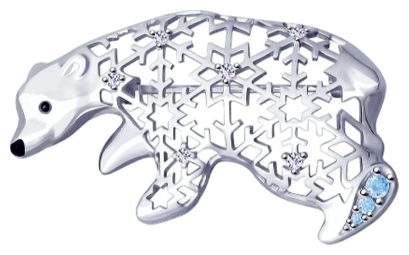 картинка брошь из серебра 925° с фианитом 94040142
