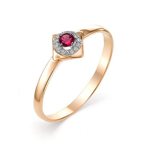 картинка кольцо 12517-103 1 рубин   круг 0,087 2,5 2/2, 14 бриллиант круг 17 0,031 200-400 2/3а 12517-103